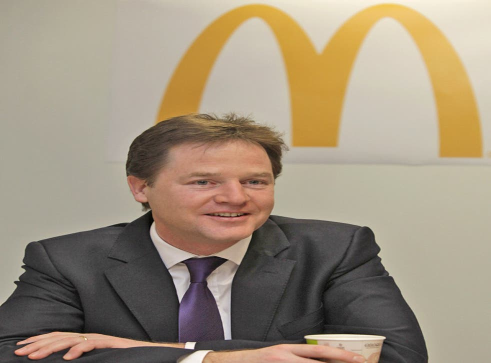 The campaign embarrassed McDonald's on the day when Nick Clegg visited a training centre