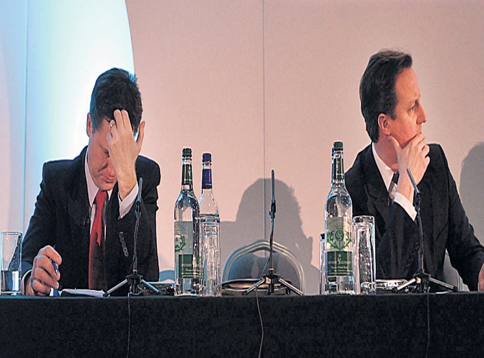 Talk of a twin approach by Nick Clegg, left, and David Cameron has been tempered by recent setbacks