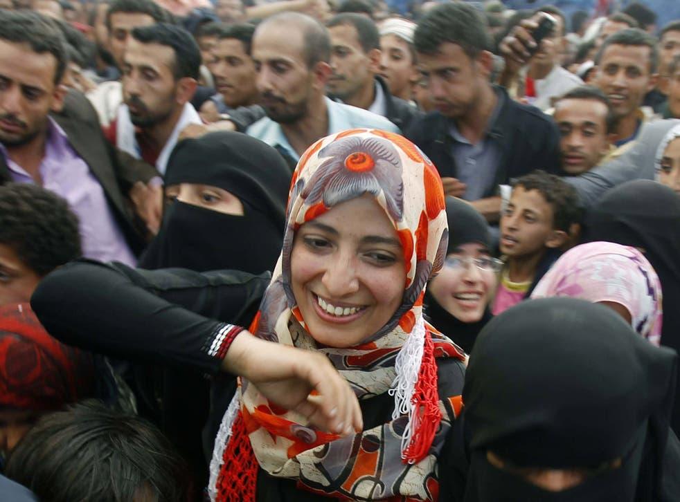 Tawakul Karman with protesters in Sanaa