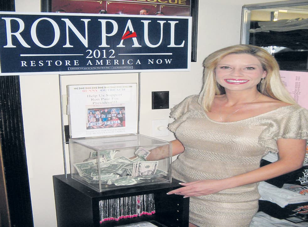 The Moonlite Bunny Ranch Brothel outside Carson City has a collection box for Paul's campaign