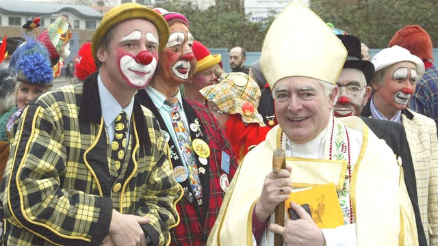 Carry on blessing: former Bishop of Stepney, Stephen Oliver, clowning around in 2006