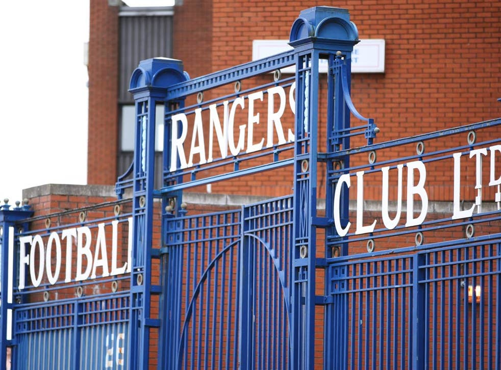 A view of the gates at Ibrox, the home of Rangers Football Club