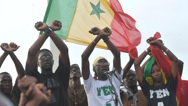 Fadel Barro, a Y'En a Marre activist, addresses a rally in Dakar