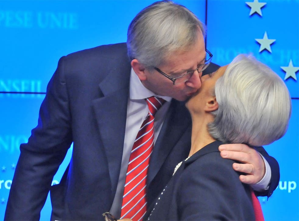 Eurogroup president Jean-Claude Juncker and IMF managing director Christine Lagarde after the bailout was secured in Brussels