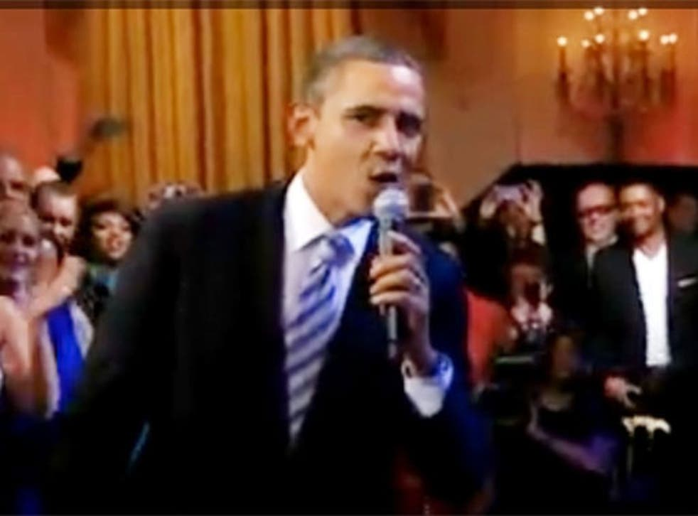 Barack Obama performing 'Sweet Home Chicago' on Tuesday night