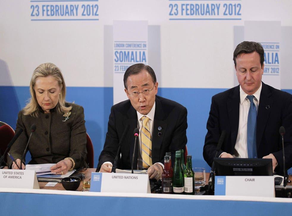 UN Secretary-Genaral Ban Ki-Moon, Prime Minister David Cameron and US Secretary of State Hillary Clinton listen during the Somalia Conference at Lancaster House