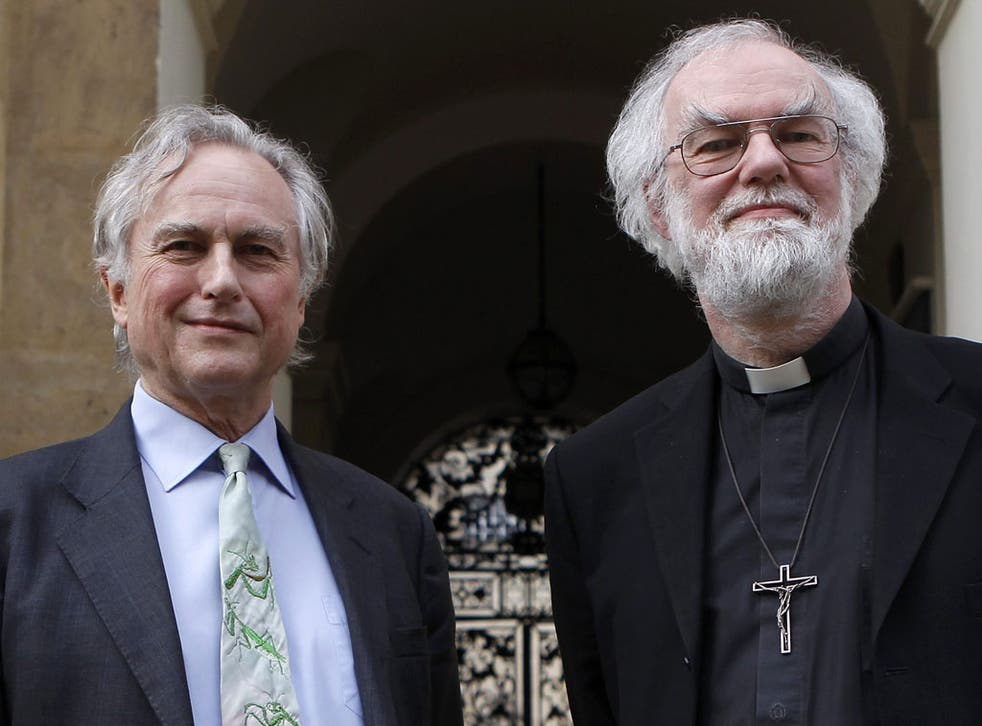 Professor Richard Dawkins and the Archbishop of Canterbury, Rowan Williams outside Clarendon House before the televised debate