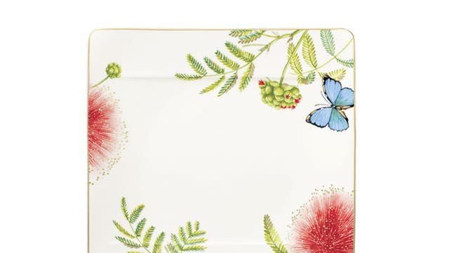 1. Villeroy & Boch  <p>£55, villeroy-boch.co.uk</p>  <p>Here's a real statement plate – not just because of its square shape and beautifully detailed artwork, but because tropical prints are all the rage in tableware.</p>