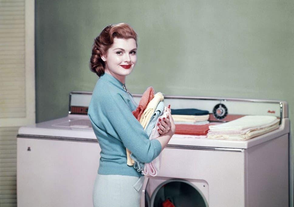 Girl having sex with washing machine