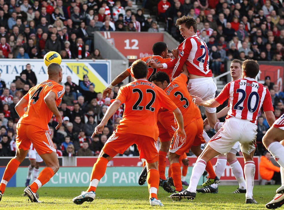 Peter Crouch rises highest to extend Stoke's lead against Swansea