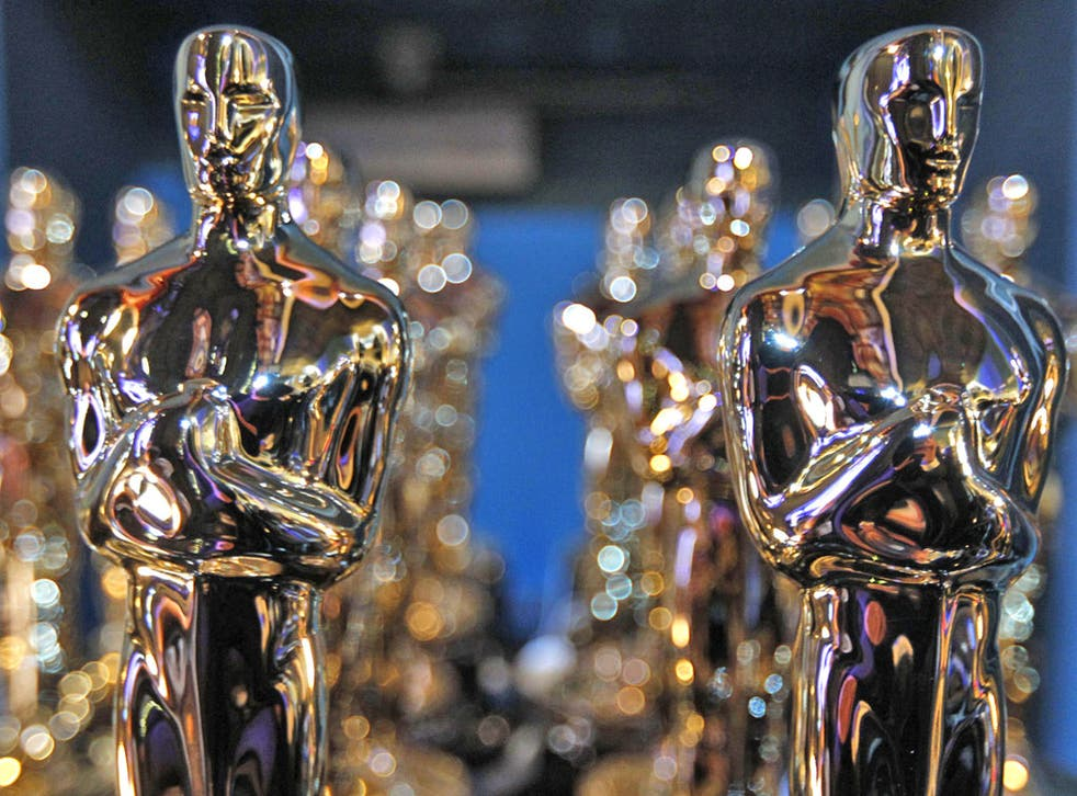Oscar statues backstage during the 84th Academy Awards
