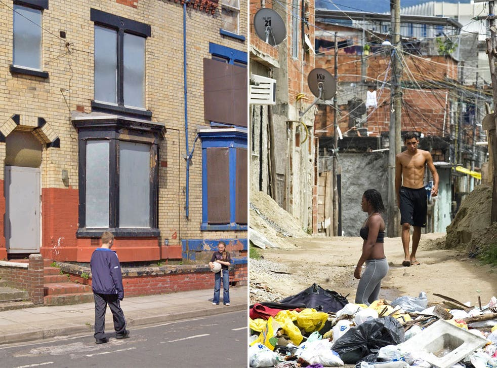 Left, boarded up houses in Liverpool. Right, a shantytown near Rio de Janeiro, Brazil
