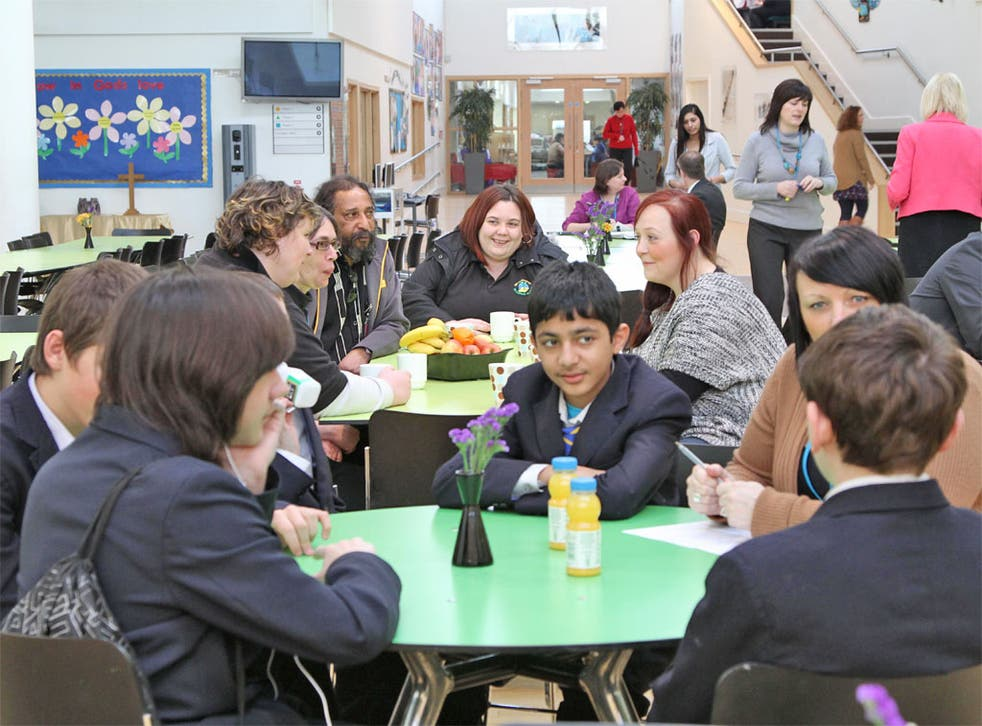 Open to all: parents and pupils in the restaurant