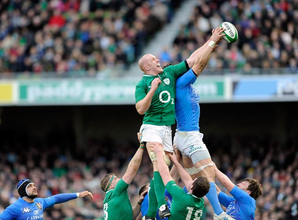 Paul O'Connell in action against Italy