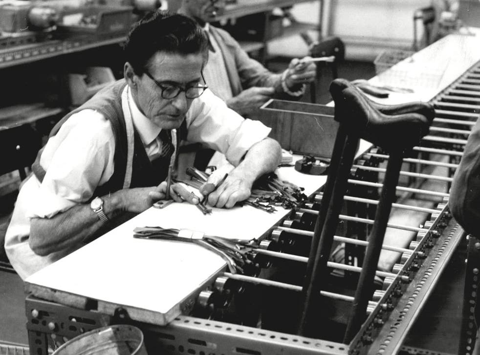 In 1945 Remploy is established under the Disabled Persons Employment Act. Its first factory in Bridgend, South Wales, makes furniture and violins. Employees are largely ex-servicemen injured in the Second World War and former miners