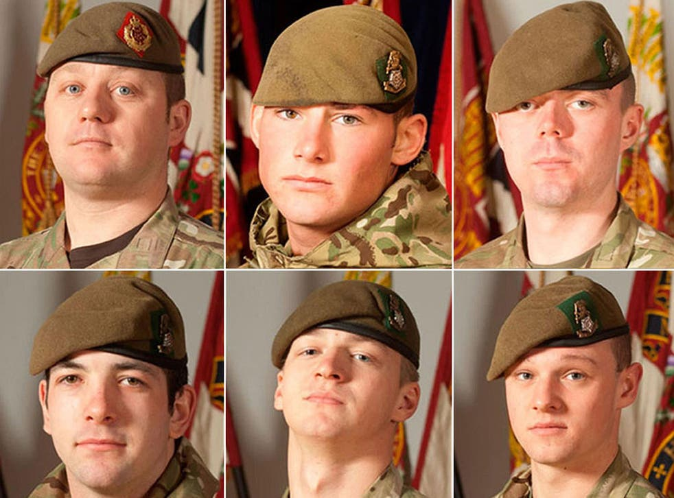 (Top row left to right) Sergeant Nigel Coupe, Corporal Jake Hartley and Private Anthony Frampton, with (bottom row left to right) Private Christopher Kershaw, Private Daniel Wade and Private Daniel Wilford, the six soldiers who were killed in a bomb blast in Afghanistan on Tuesday