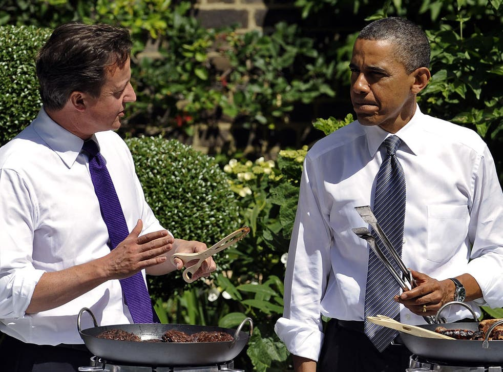 David Cameron with President Obama at Downing Street last year