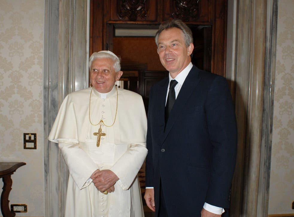 The Pope with Tony Blair in Rome in 2007