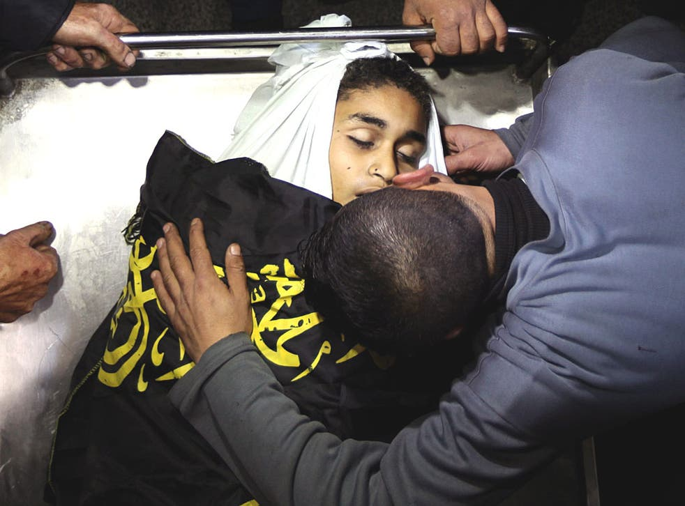 Bombs in the Gaza Strip killed a 12-year-old boy and two other Palestinians yesterday