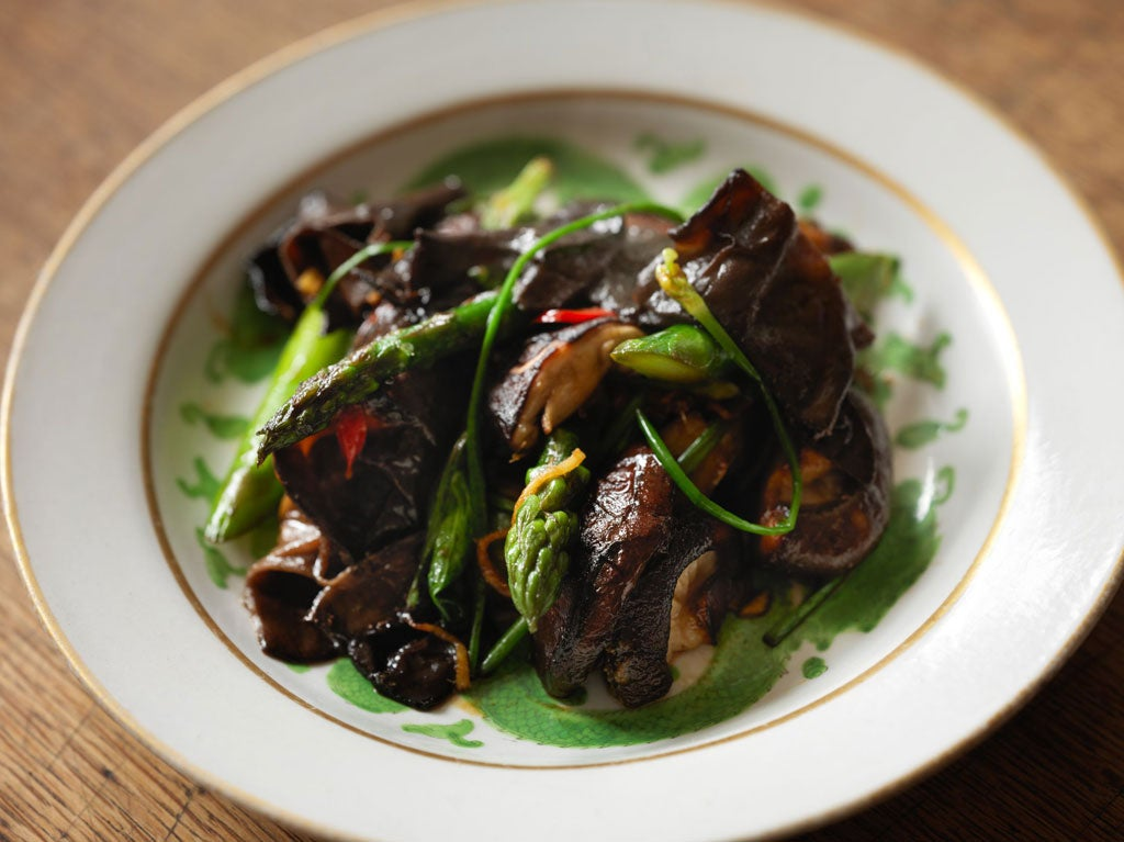Asparagus with Asian mushrooms | The Independentindependent_brand_ident_LOGOUntitled
