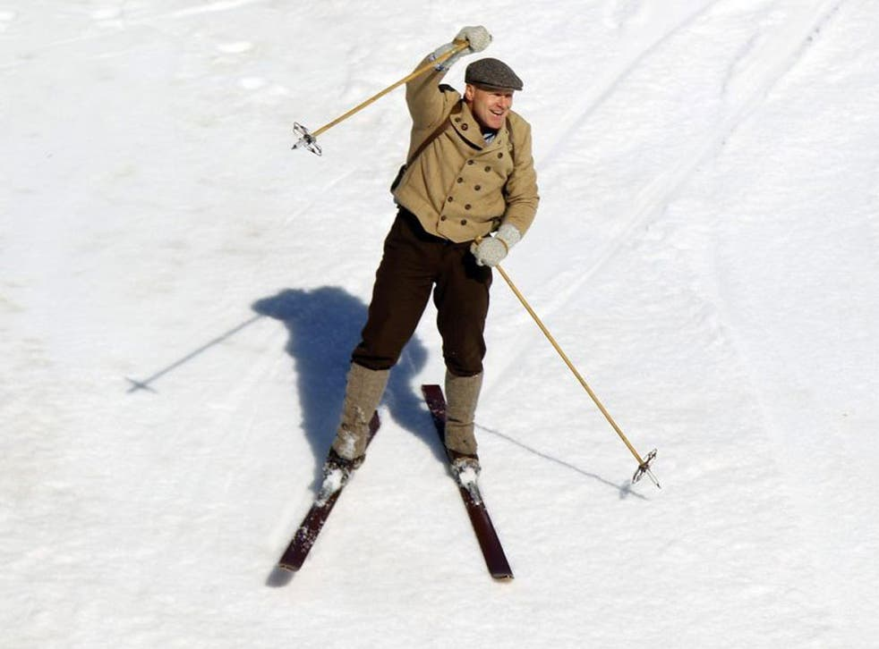 Didier Cuche waves farewell to a great skiing career in good cheer and vintage clobber