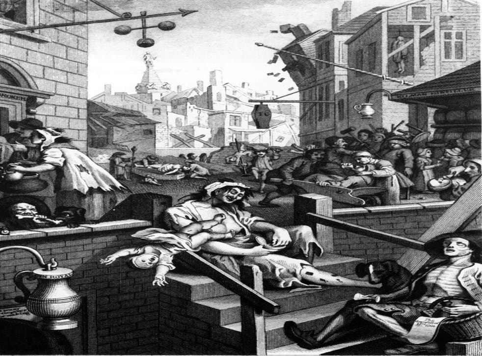 Dead Drunk: Hogarth's hellish vision of Gin Lane in 1751. Today's doom-mongers paint a similarly dissolute picture