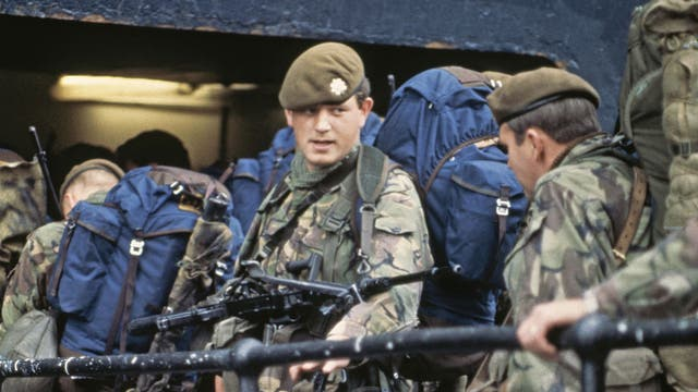May 1982 - Some of the 3000 troops leaving from Southampton aboard the QE2