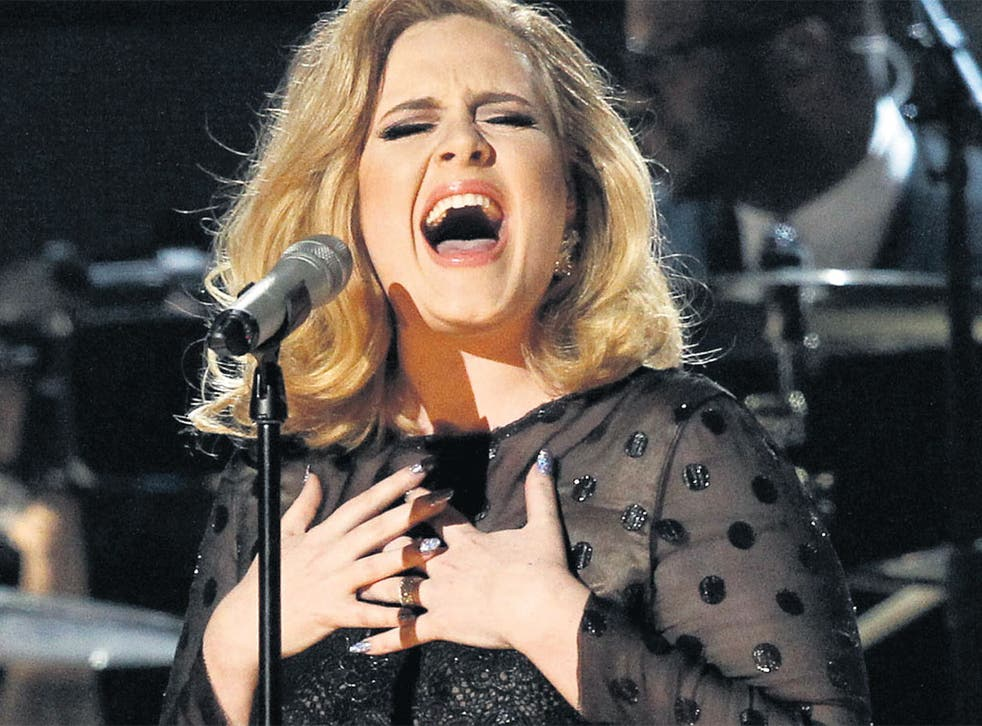 Adele singing Rolling in the Deep at the 2012 Grammy Awards