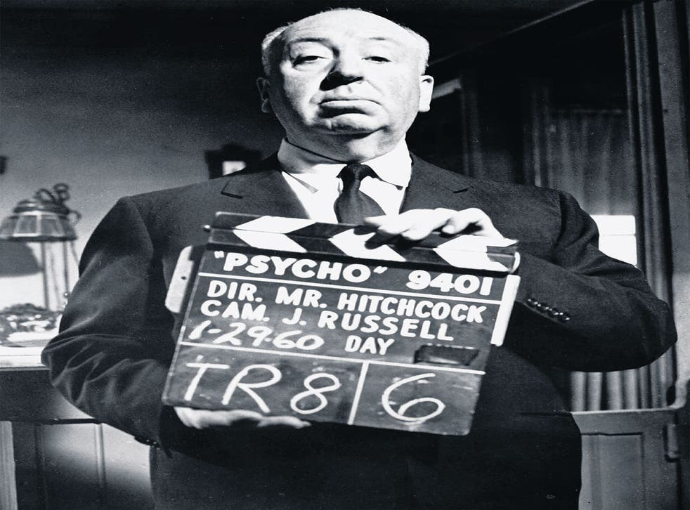 Hitchcock on the set of Psycho (1960)