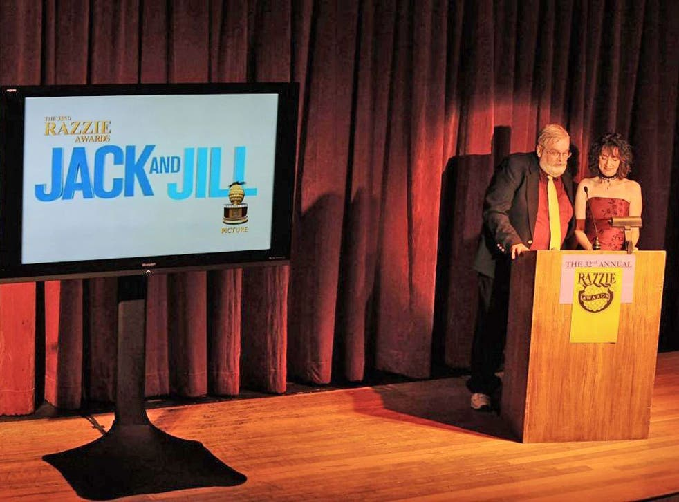 John Wilson and Kelie McIver announce the movie Jack and Jill as the winner of the Worst Picture award