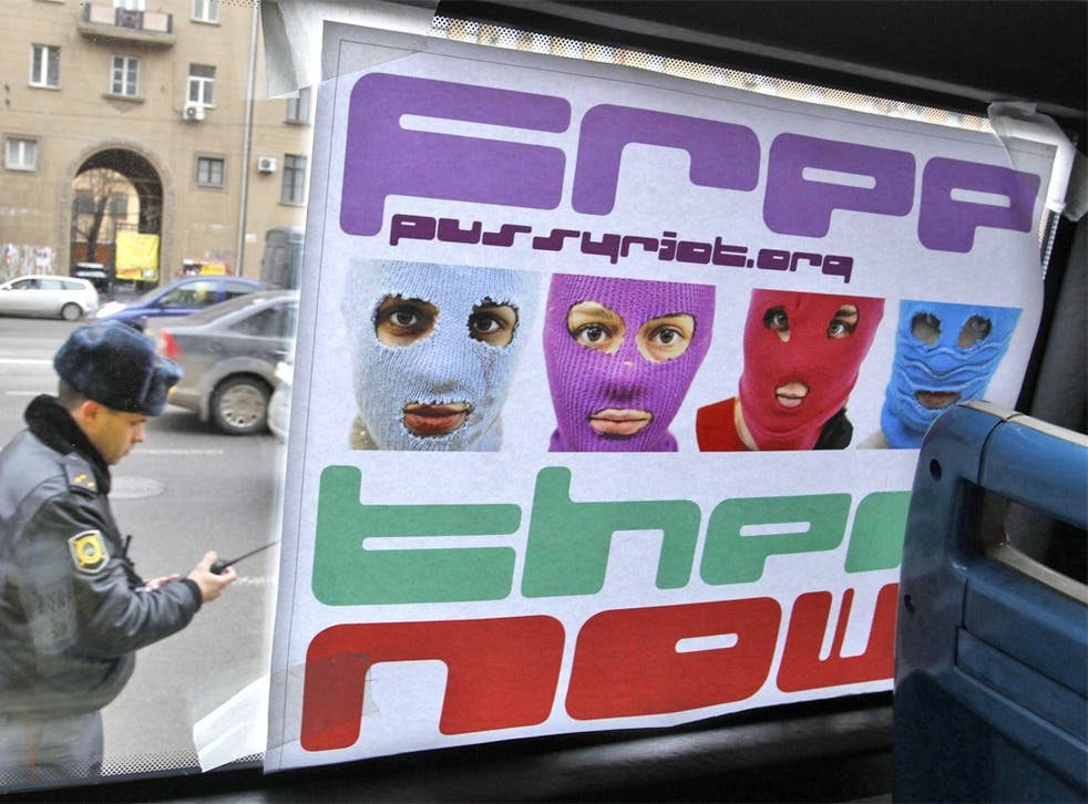 A poster in Moscow in support of the female punk protest group Pussy Riot