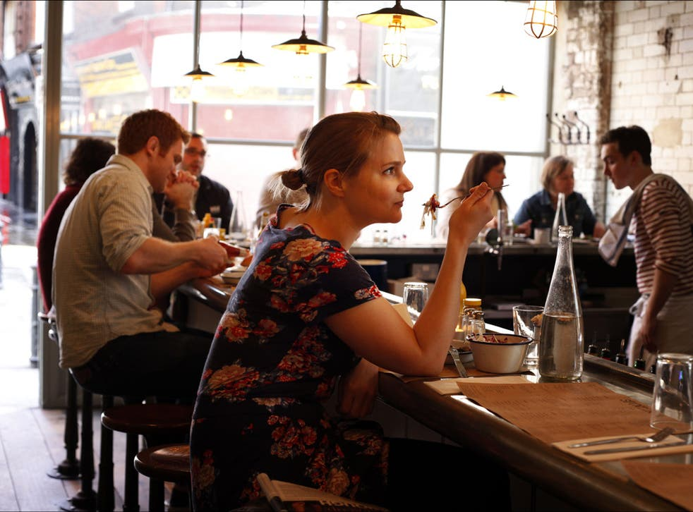 Going solo: Charlotte McDonald-Gibson at Spuntino in Soho, where lone diners are welcomed