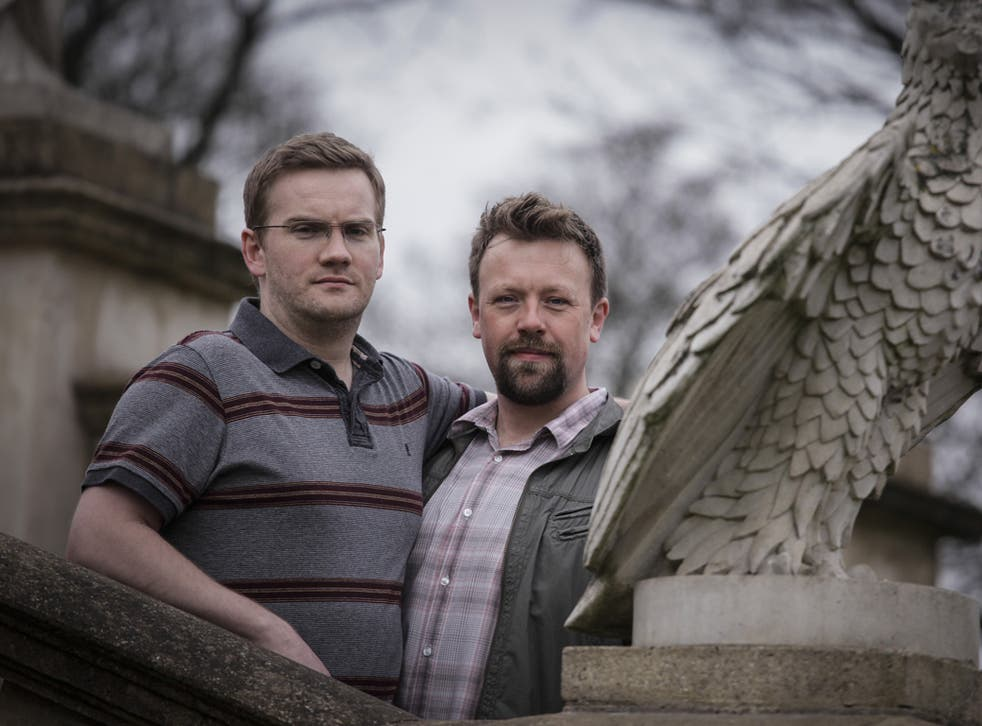 Conor Marron, left, and James Lattimore back gay marriage