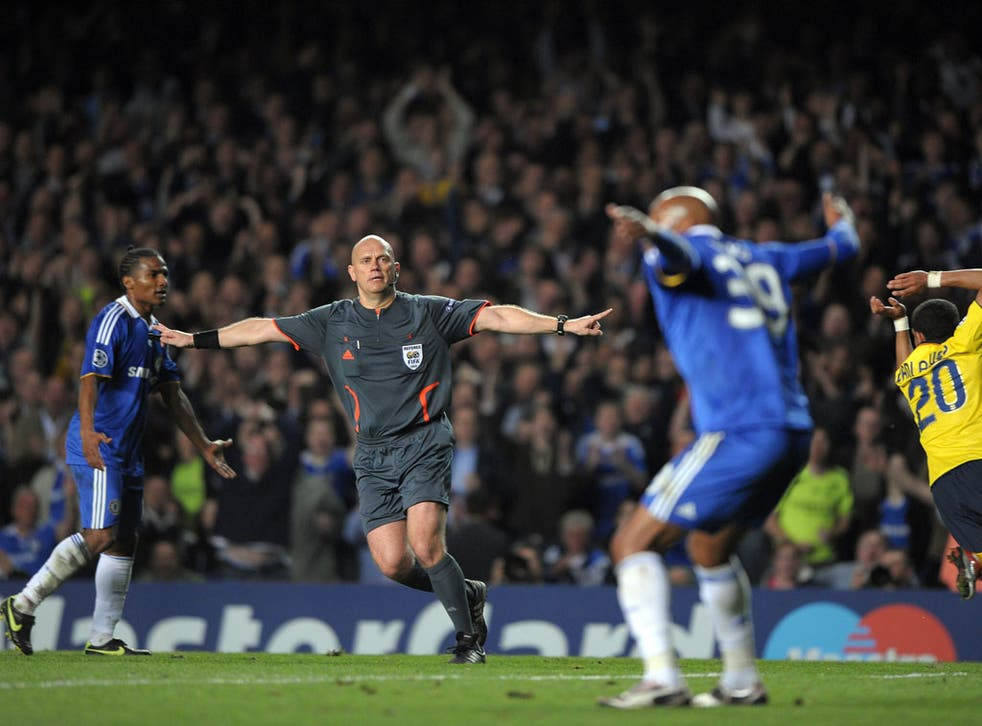 Tom Henning Ovrebo pictured officiating the Champions League semi-final between Chelsea and Barcelona