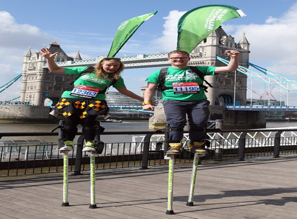 Completing the London Marathon was no tall order for Charley and George Phillips who instead want to complete it on stilts