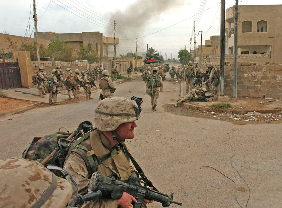 US Marines during the ground offensive in Fallujah in November 2004
