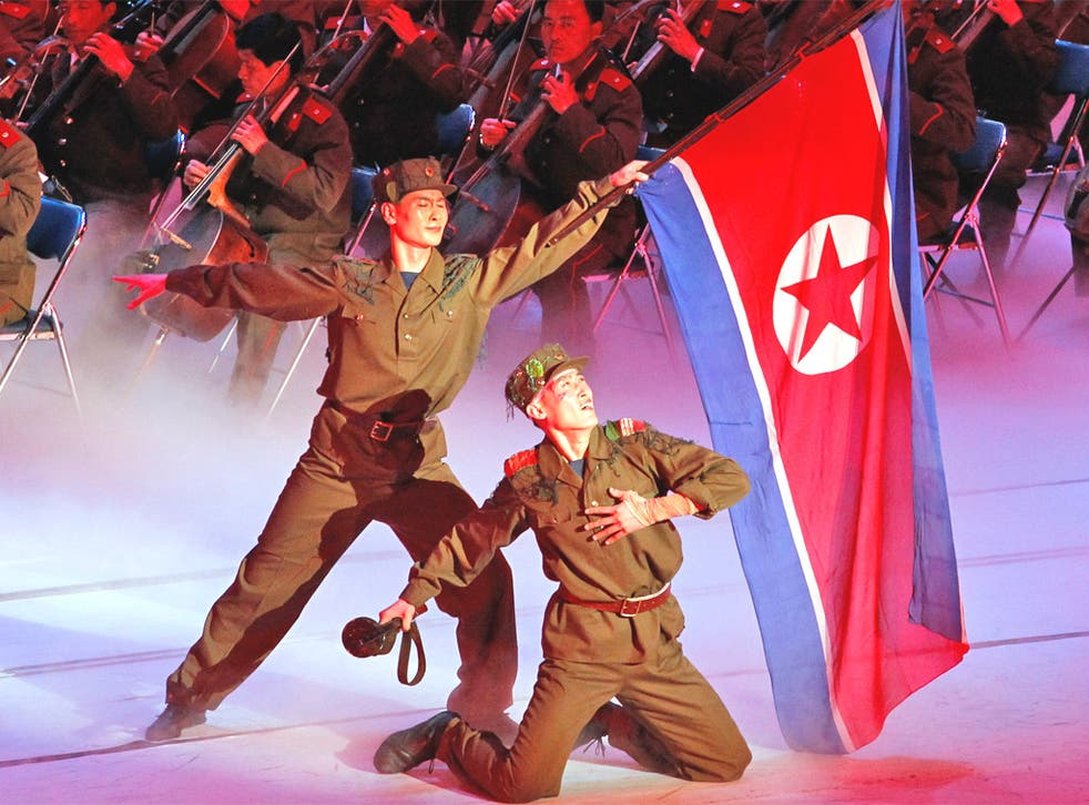 Performers in Pyongyang mark the 80th anniversary yesterday of the North Korean army