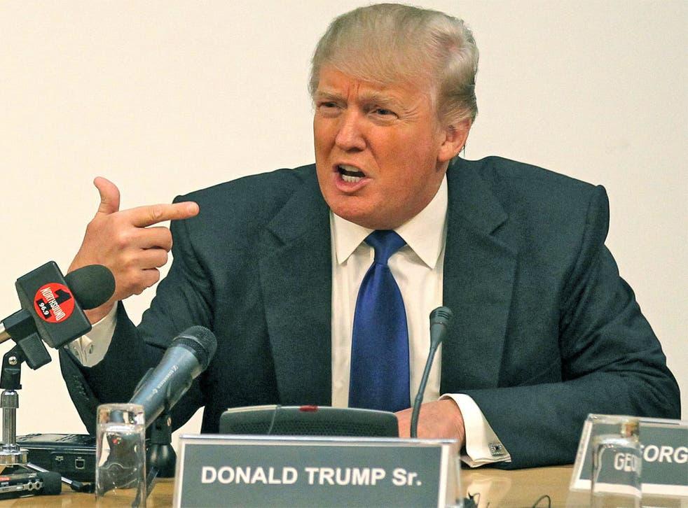 Donald Trump at the Scottish Parliament in Edinburgh
