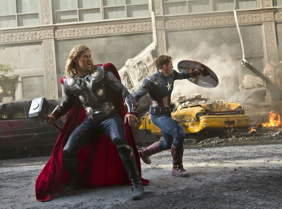 Death or glory: Chris Hemsworth (Thor) and Chris Evans (Steve Rogers/Captain America) in 'Avengers Assemble'