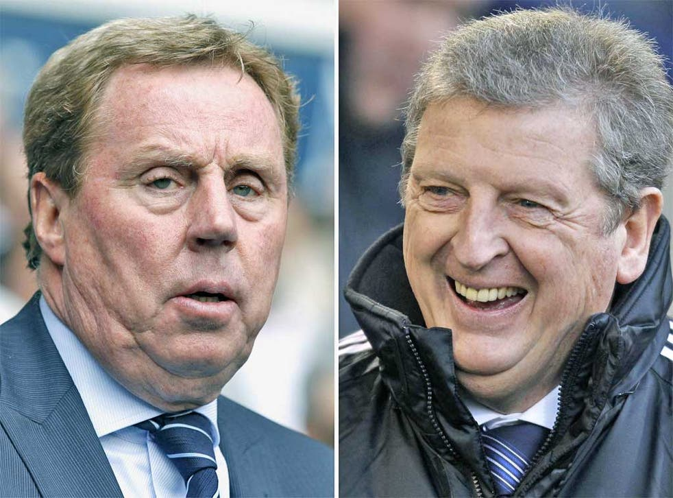 The manager insultingly ignored by the Football Association, Harry Redknapp (left) and the man it has instead chosen to lead England into the forthcoming Euro 2012 tournament, and the World Cup qualifying beyond, Roy Hodgson