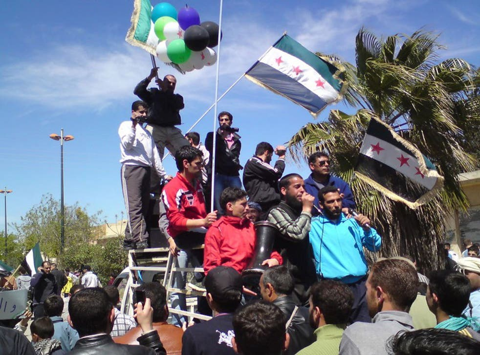 Staged or spontaneous?: Protest against President Bashar Al-Assad in Syria last month