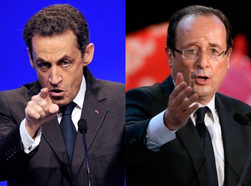 President Nicolas Sarkozy (left) and his rival François Hollande