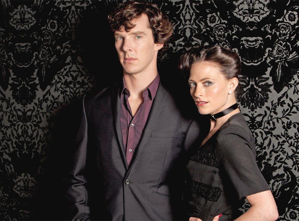 Lara Pulver with Benedict Cumberbatch as Sherlock