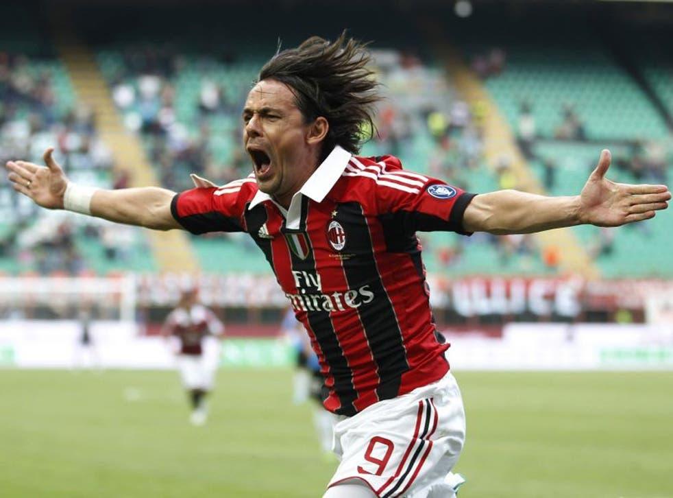 Pippo Inzaghi celebrates scoring against Novaro