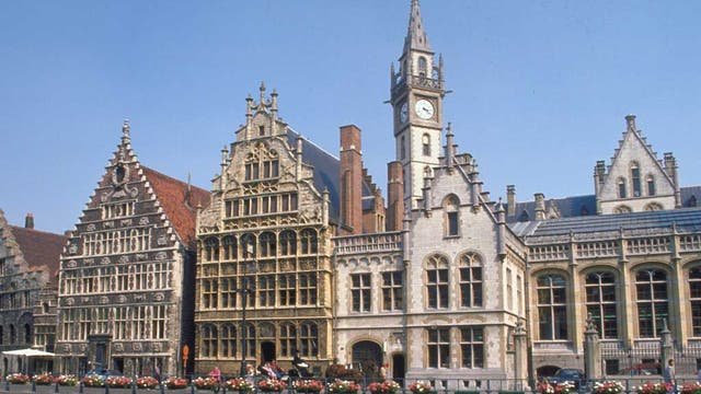 Ghent's pretty riverside street, Graslei