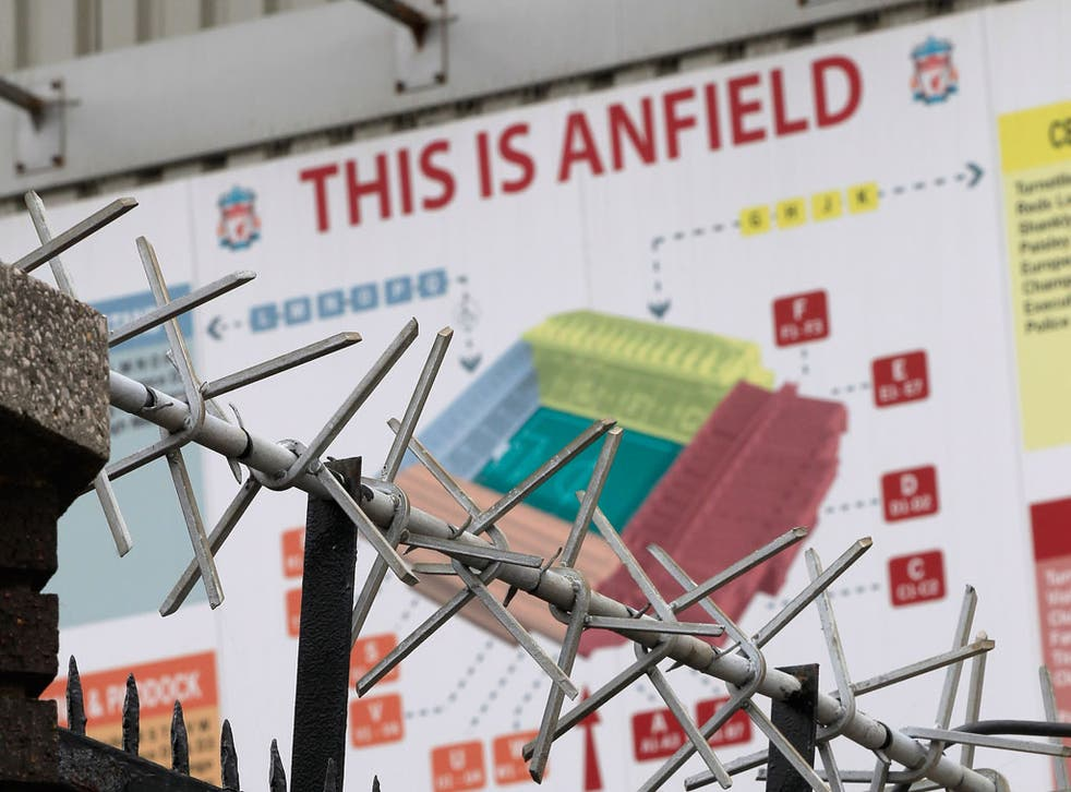 A view outside Liverpool's Anfield stadium