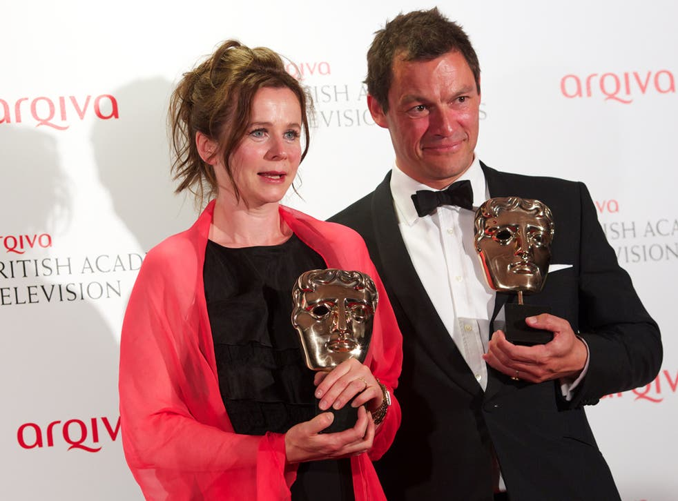Leading Actor winner Dominic West with Leading Actress winner Emily Watson