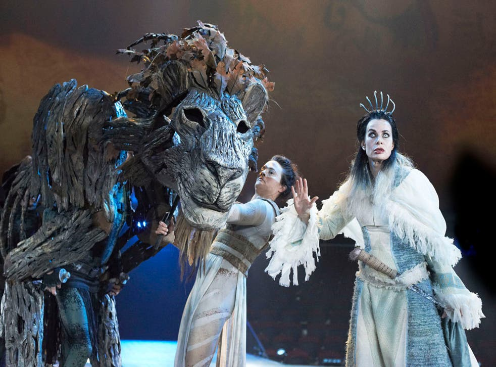 A recent theatre production of The Lion The Witch and The Wardrobe by C.S Lewis adapted by Rupert Goold. Sally Dexter as The White Witch, Jane Leaney as Aslan's Head.