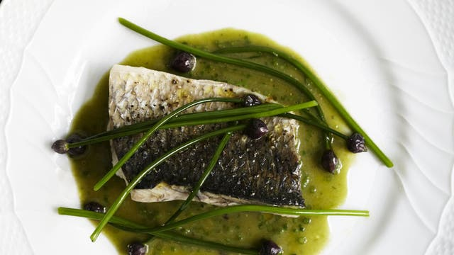 Grey mullet with chive buds