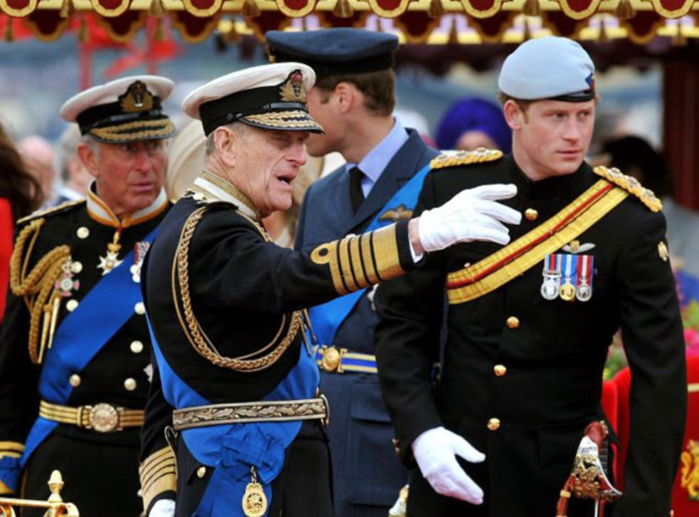 The Duke of Edinburgh (second left) has been taken to hospital with a bladder infection